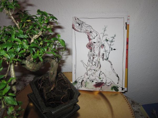 Model und Zeichnung - Foto von Susanne Haun