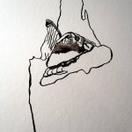 Die Baumrinde eignet sich dazu, verschiedene Federn auszuprobieren - Foto von Susanne Haun