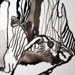 Mit dem Pinsel kann man mit Tusche verschiedene Lavuren setzen - Ausschnitt Zeichnung von Susanne Haun