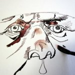 Die Nase entsteht und ich deute den Helm an - Zeichnung von Susanne Haun