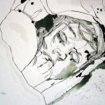 Er versteckte sich unter dem Kissen - Zeichnung von Susanne Haun - 30 x 40 cm - Tusche auf Bütten