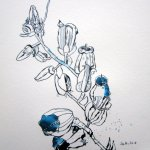Bodenkriecher - Zeichnung von Susanne Haun - 30 x 30 cm - Tusche auf Bütten