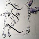 Dann muss ein Rind her - Entstehung Zeichnung Susanne Haun