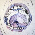 Der Mund gewinnt durch das Lavieren mehr Tiefe - Zeichnung von Susanne Haun