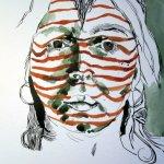 Die Streifen sind fertig, ich vertiefe die Dunkelheiten mit Jadegrün - Susanne Haun