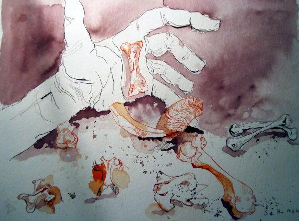 Das Orakel - Zeichnung von Susanne Haun - Tusche auf Bütten - 30 x 40 cm