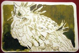 Kleiner Vogel - Zeichnung von Susanne Haun - 10 x 15 cm - Tusche auf Hahnemühlepostkarten