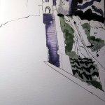 Für den Hügel oder Burgwall nehme ich wieder das grün Irlands - Susanne Haun