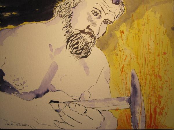 Culann der Schmied - Zeichnung von Susanne Haun - 30 x 40 cm - Tusche auf Bütten
