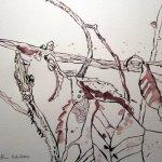 Braunes Laub - Zeichnung von Susanne Haun - 24 x 32 cm - Tusche auf Bütten
