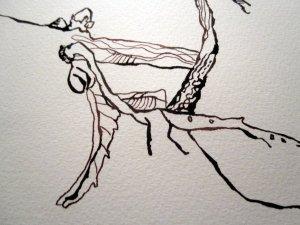 Entstehung Laub an der Weddinger Nazarethkirche - Zeichnung von Susanne Haun - 24 x 32 cm - Tusche auf Bütten