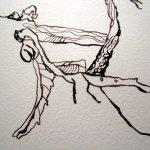 Entstehung Braunes Laub - Zeichnung von Susanne Haun - 24 x 32 cm - Tusche auf Bütten