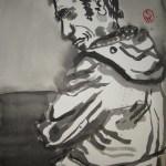 Die kleine Klippe an deren Rand er sich so sorglos niedergeworfen hatte - Illustration von Susanne Haun nach E.A.Poes - 80 x 60 cm - Tusche auf Bütten