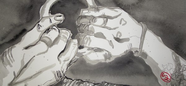 Und er faßte mit den Händen einen Rinbolzen in der Nähe des Vormastes - Illustration von Susanne Haun nach E.A.Poes - 80 x 60 cm - Tusche auf Bütten