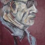 2005: Auf dem Markt II - Zeichnung von Susanne Haun - 60 x 20 cm , Ölkreide und Acryl auf handgeschöpften Büttenpapier