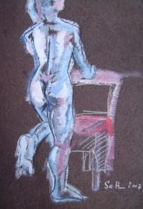 2007: Rückenakt - Zeichnunge von Susanne Haun - 80 x 60 cm - Acryl und Ölkreide
