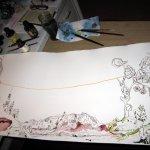 Entstehung Ithas Insel - Zeichnung von Susanne Haun - 40 x 100 cm - Tusche auf Bütten