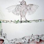 Ausschnitt Ithas Insel, der Vogel - Zeichnung von Susanne Haun - 40 x 100 cm - Tusche auf Bütten