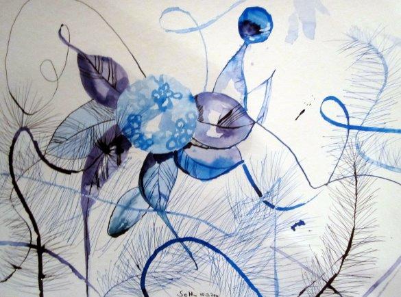 Strauch an der Elbe - Zeichnung von Susanne Haun - 36 x 48 cm , Tusche auf Bütten