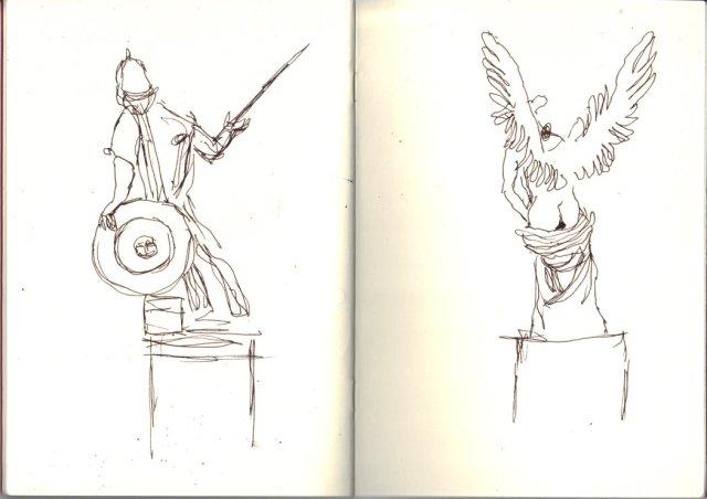 Skizzen der Figuren von der Schlossbrücke Berlin von Susanne Haun