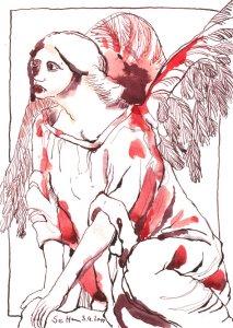 Wachender Engel - Zeichnung von Susanne Haun - 17 x 24 cm - Tusche auf Aquarellpapier