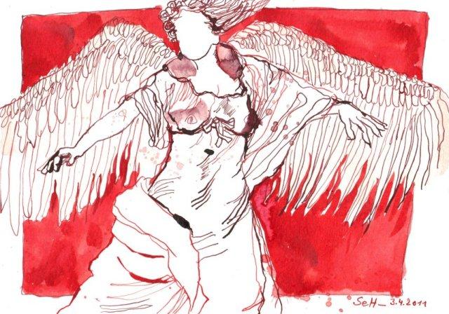 Tanzender Engel - Zeichnung von Susanne Haun - 17 x 24 cm - Tusche auf Aquarellpapier