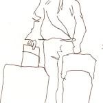 Menschen mit Gepäck Blatt 3 - 15 x 15 cm - Tusche auf Skizzenblock von Susanne Haun