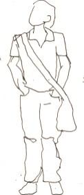 Menschen mit Gepäck Blatt 5 - 15 x 15 cm - Tusche auf Skizzenblock von Susanne Haun