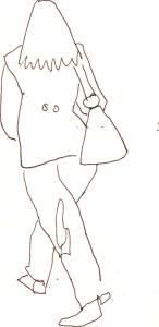 Menschen mit Gepäck Blatt 6 - 15 x 15 cm - Tusche auf Skizzenblock von Susanne Haun