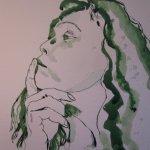Entstehung Ich am 8.4.2011 - Zeichnung von Susanne Haun - 25 x 25 cm - Tusche auf Bütten