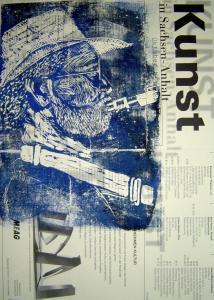 1999 - Saxophonist - Linoldruck von Susanne Haun - 30 x 20 cm auf einer Kunstzeitung