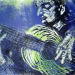 1999 - Gitarrist - Linoldruck von Susanne Haun - 20 x 30 cm