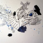 Erst eine Amsel - Zeichnung von Susanne Haun - 30 x 40 cm - Tusche auf Hahnemühle Bütten Toscana