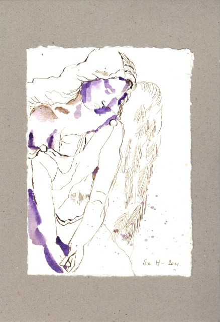 Semjasa, ihr Oberster - Zeichnung von Susanne Haun - 20 x 15 cm - Tusche auf Bütten