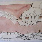 Semjasa lehrte das Schneiden der Wurzeln - Zeichnung von Susanne Haun - 15 x 20 cm - Tusche auf Bütten