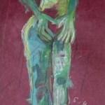 Westen - Zeichnung von Susanne Haun - Ölkreide und Acryl auf handgeschöpften Bütten - 2005 - 60 x 20 cm