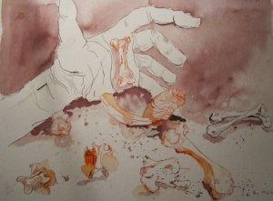 Das Orakel - Zeichnung von Susanne Haun - 40 x 30 cm - Tusche auf Bütten
