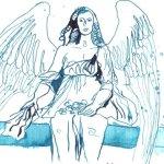 Sitzender Engel - Zeichnung von Susanne Haun - 15 x 10 cm - Tusche auf Hahnemühle Bütten
