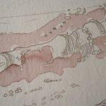 Die stark verdünnte Sepia Tusche sieht aus wie Bleistift - Foto von Susanne Haun