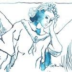 Behütender Engel - Zeichnung von Susanne Haun - 15 x 10 cm - Tusche auf Hahnemühle Bütten