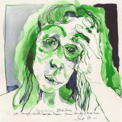 Selbst als Fragerin oder Entscheiderin - Zeichnung von Susanne Haun - 20 x 20 cm - Tusche auf Bütten