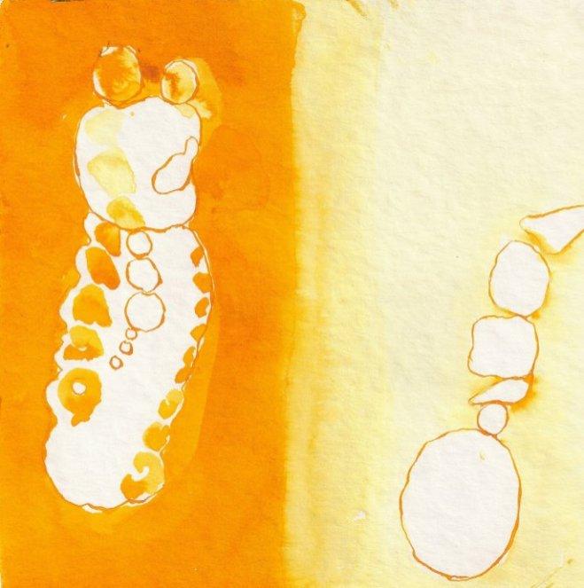 Frage - Entscheidung - hell - dunkel - Zeichnung von Susanne Haun - 20 x 20 cm - Tusche auf Bütten , (c) VG Bild-Kunst, Bonn 2019