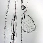 Der Stil ist abstrakt und wird von einem Blatt durchbrochen - Auschnitt Zeichnung von Susanne Haun 200 x 40 cm