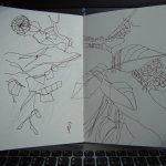 Laub mit Spinnenwegen auf der Adenauerallee - Skizze von Susanne Haun