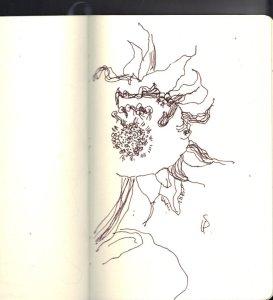 Skizze einer verblühten Sonnenblume von Susanne Haun
