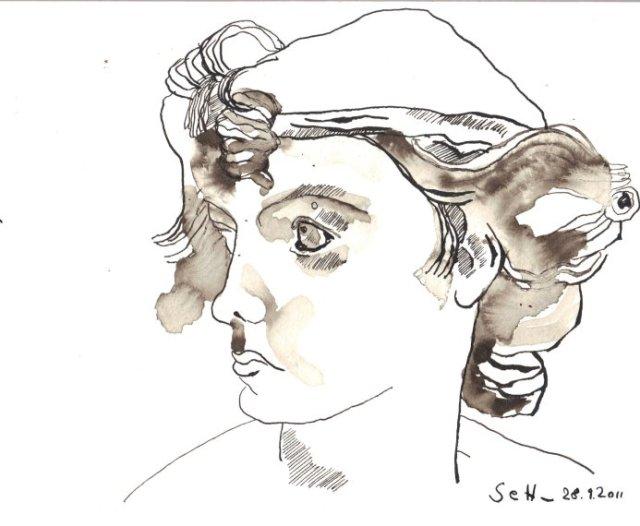 Zeichnung nach Cupido im Bode Museum von Susanne Haun - 17 x 22 cm - Sepia auf Bütten