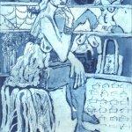 Im Schuhladen - Radierung von Susanne Haun - 1 Platte Aquatinta - 20 x 15 cm - 2005