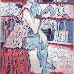 Im Schuhladen 6 - Radierung von Susanne Haun - 2 Platten Aquatinta - 20 x 15 cm - 2005