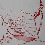 Rote Blüte 2 - Zeichnung von Susanne Haun - Tusche auf Bütten - 12 x 17 cm