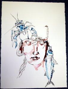 Entstehung Element Wasser - Zeichnung von Susanne Haun - Tusche auf Leonardo Bütten 60 x 80 cm